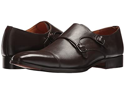 CARLOS by Carlos Santana Passion Double Monk Strap (Dark Brown Gain Calfskin Leather) Men