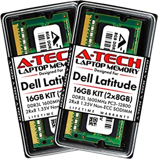 A-Tech 16GB (2 x 8GB) Max RAM for Dell Latitude E6530, E6430, E6430s, E6430 ATG, 6430u, E6330, E6230, E5530, E5430 | DDR3/DDR3L 1600MHz PC3-12800 1.35V SODIMM Memory Upgrade Kit