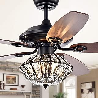 Black Ceiling Fan with Light Kit Crystal Chandeliers Fan Light 52