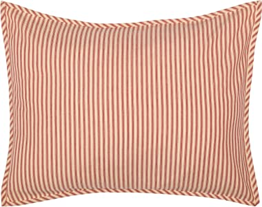 VHC Brands Sawyer Mill Pillow Sham Cover Farmhouse Country Stripe Decorative Cotton Standard Size 21x27 Bedding Accessory, Red