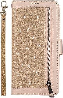 Mylne for iPhone 12 Pro Max Zipper Wallet Case,Bling Glitter Multi-functional Handbag Pocket Folio PU Leather Stand Flip C...
