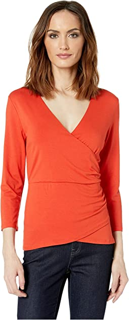 3/4 Sleeve Wrap Front Knit Top