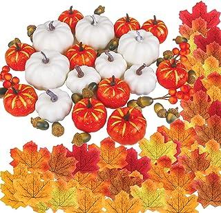 DERAYEE 151 Pcs Thanksgiving Artificial Pumpkins Home Decoration, Autumn Gourds Pumpkins Fall Artificial Maple Leaves Fake...