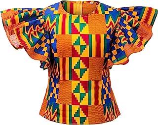 Shenbolen Women Kente Print Shirt African Tradition Top