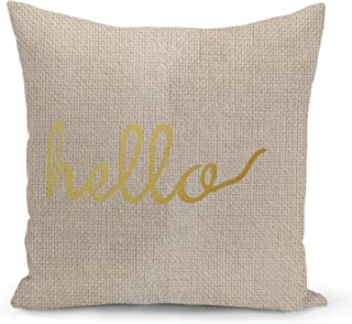 Hello Accent Pillow Beige Linen Pillow with Metalic Gold Foil Print Couch Pillows