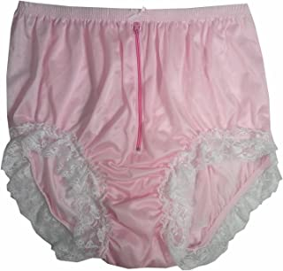 NQH09D05 Pink Handmade Vintage Style Brief Panties Nylon for Women Panty Underwear high Waist Undies