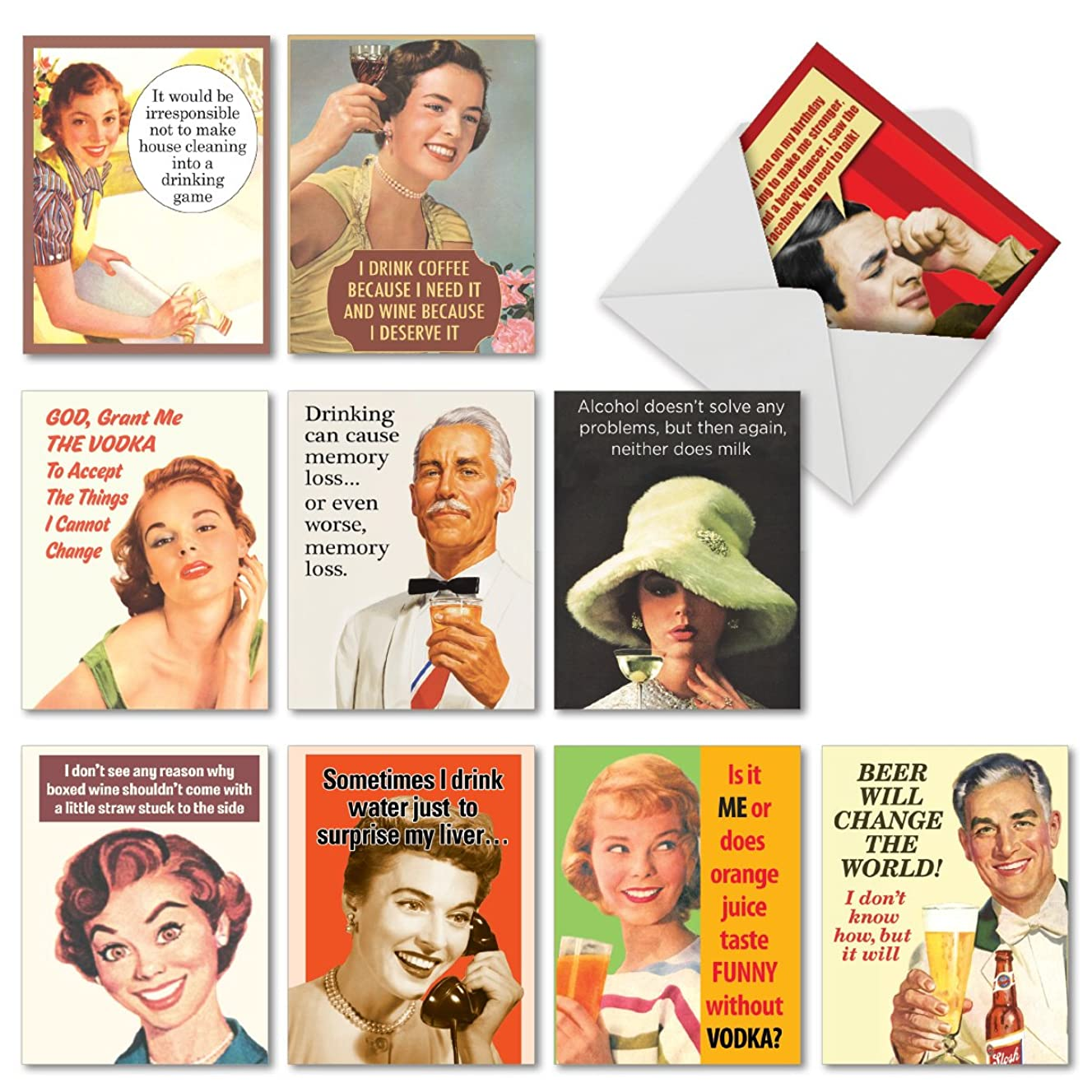 Hilarious 'Retro Toasts' Funny Cards with Envelopes (Box of 10) - 4 x 5.12 inch Vintage Assortment of Blank Greeting Cards for All Occasions - Beer, Wine, Liquor Humor Note Cards M6619BDGsl