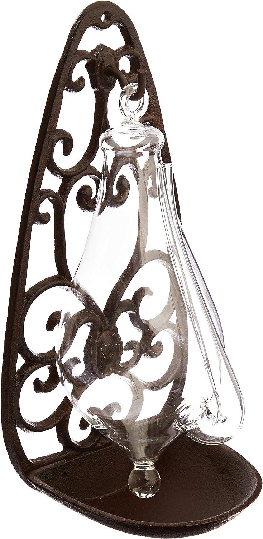 Goethe-Barometer Goetheglas Glasbarometer Wetterstation mit Halterung aus Guss