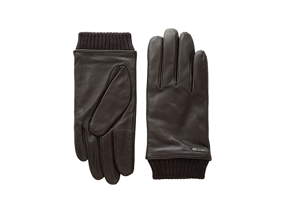 BOSS Hugo Boss Hewen Touch Tech Leather Gloves (Dark Brown) Over-Mits Gloves