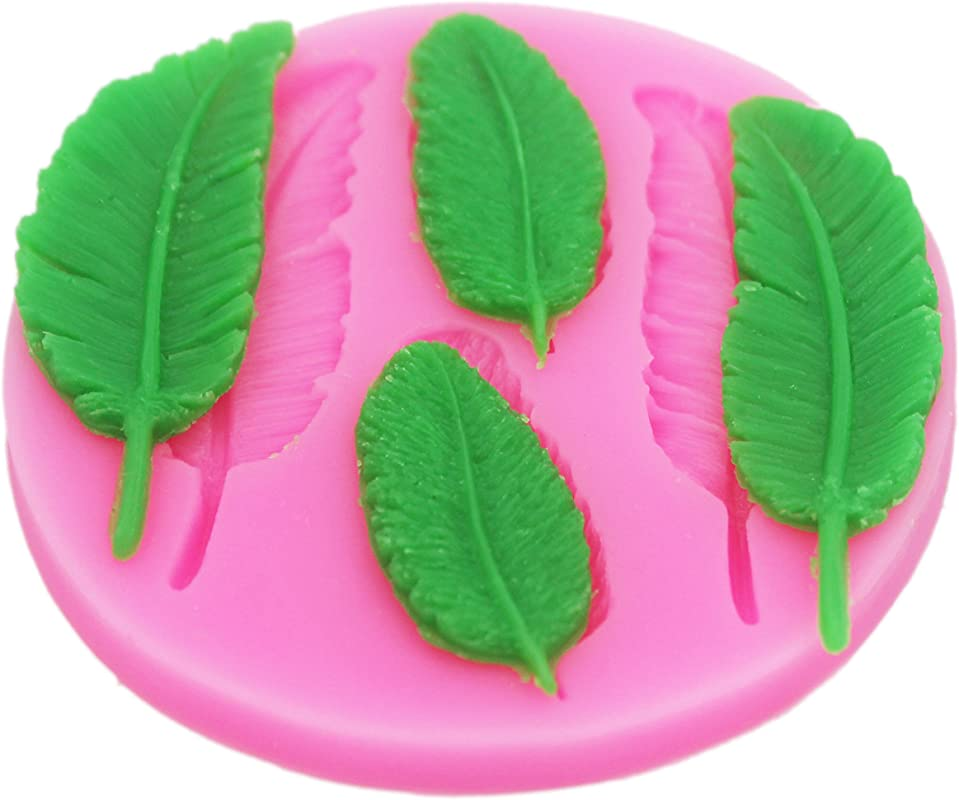 Longzang Feather Silicone Mold Sugar Craft DIY Gumpaste Cake Decorating Clay