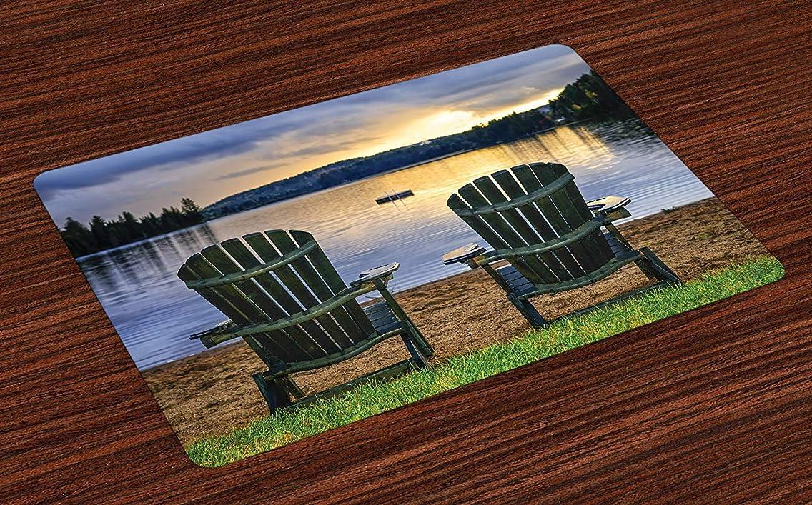 出撃者ピースふけるシーサイドランチョンマット、サンセットアルゴンキン州立公園カナダのリラックスした湖onにある木製の椅子2脚、ダイニングルームキッチンテーブル装飾用洗えるファブリックプレースマット、グリーンネイビー15.7インチx 23.5インチ
