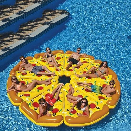 DMGF Aufblasbare Pool Float Flo izza Form Liegen Riesen Sommer Outdoor Schwimmen Floats Strand Wasser Sport Spielzeug Für Erwachsene Kinder