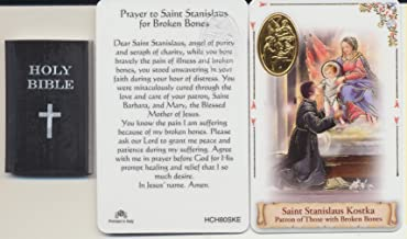Saint Stanislaus Kostka Healing Holy Card Healing Holy Card with Embossed Gold Leaf Medal and Bible Eraser Patron of Broken Bones