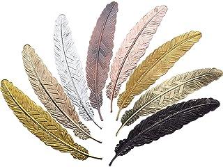 メタルフェザー ブックマーク アンティーク 羽しおり 可愛い ギフト 贈り物 金属 鳥の羽 シリーズ 8枚セット