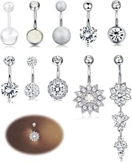 Milacolato 10-12PCS Stainless Steel Belly Button Rings for Womens Girls Navel Rings Barbell Dangle Acrylic CZ Body Piercing Jewelry