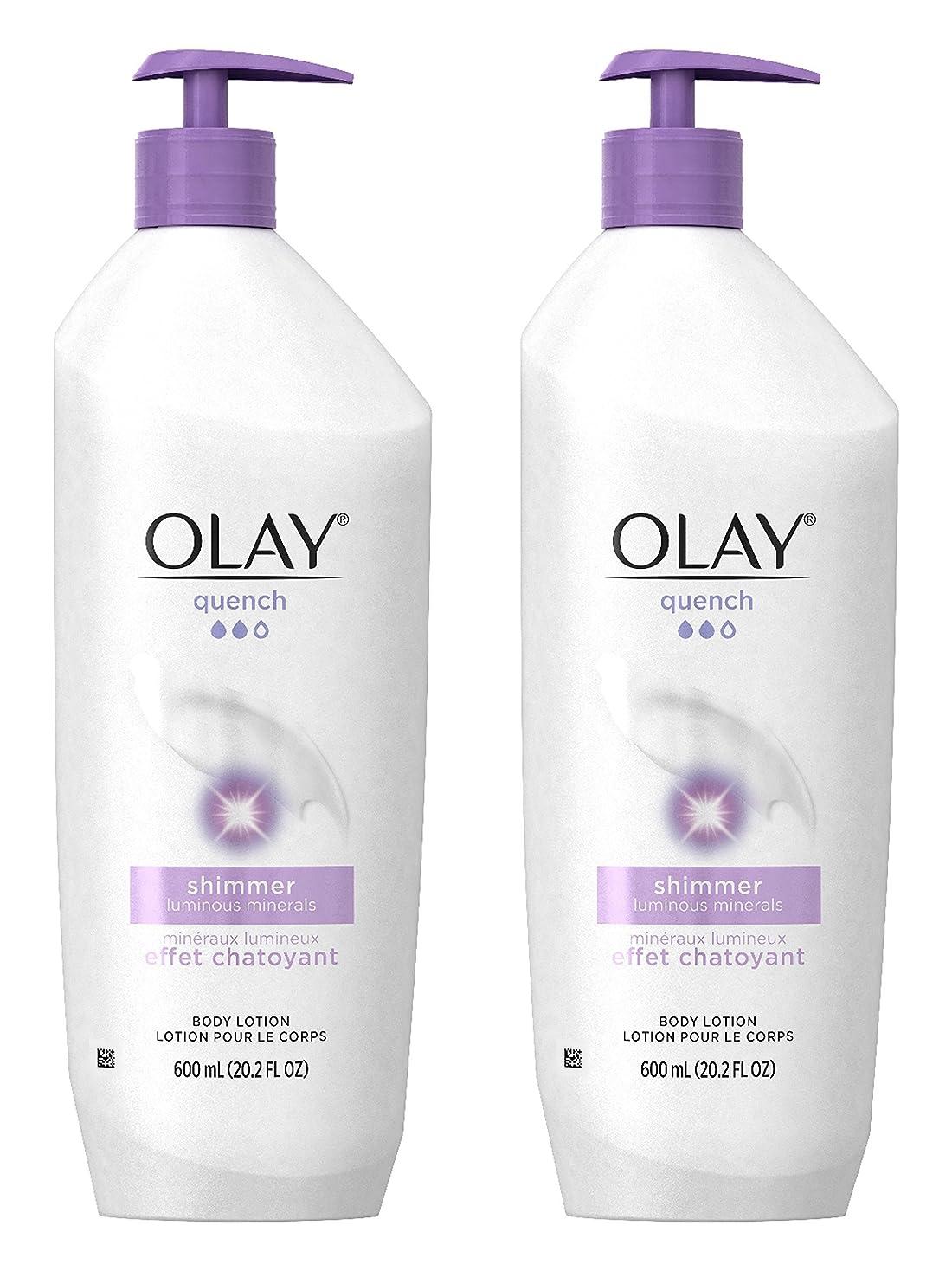 敬外国人妥協Olay Quench Daily Lotion Plus Shimmer Body Lotion 20.2 Fl Oz (Pack of 2) by Olay [並行輸入品]
