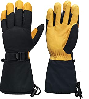 SzBlaZe Waterproof Thinsulate Thermal Ski Gloves With Cowhide Leather Palm For Skiing Snowboarding Cycling Outdoor Sport