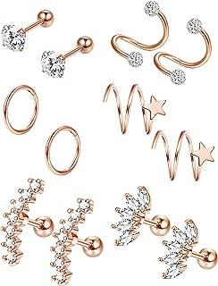 6 Pairs Stainless Steel Cartilage Piercing Earrings Set for Women Helix Tragus Stud Ear Piercing Jewelry