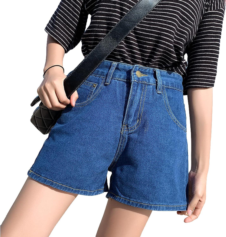 Women's Casual Jeans Shorts High Waist All-Match Loose Leisure Wide-Leg Slim