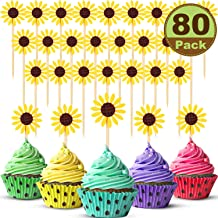 80 Pieces Sunflower Cupcake Toppers, Sunflower Cupcake Picks Party Sunflower Decoration for Baby Shower Decor, Kids Birthday Decorations