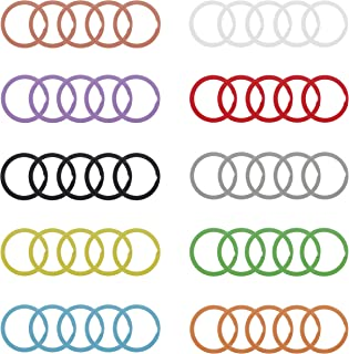 Coolcoco 25mm Colorful Split Metal Key Ring for Keys Organization (50 Pieces A Set for 10 Colors, Each Color with 5 Pieces)