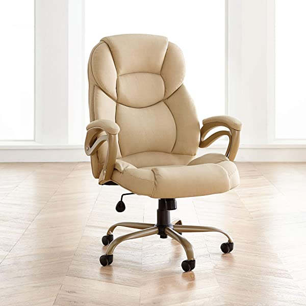 BrylaneHome Extra Wide Memory Foam Office Chair Tan