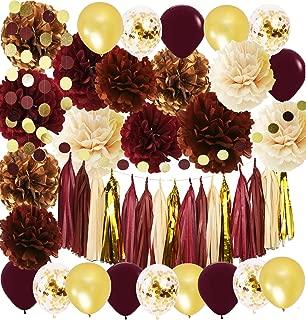 Wine Burgundy Champagne Gold Bridal Shower Decorations/Fall Wedding Decorations Big Size Burgundy Tissue Pom Pom Maroon Gold Balloons Burgundy Wedding/Women 30th/50th Birthday Party Decorations