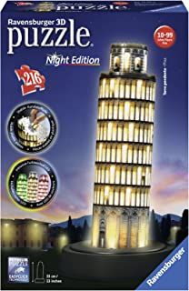 Ravensburger–125159 Decorative 3D Puzzle–216Pieces–Tower of Pisa Night Edition