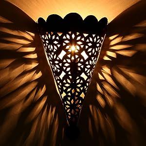"""Oriental fer lampe murale de style marocain faite à la main pour de superbes effets de lumière comme en 1001 nuit """"EWL11"""" Hauteur: 34 cm Largeur: 25 cm L1636"""