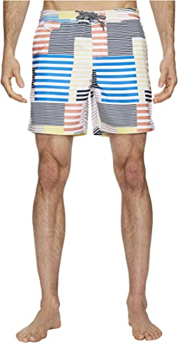 Original Penguin - 8-Bit Stripe Fixed Volley Stretch Swim Shorts