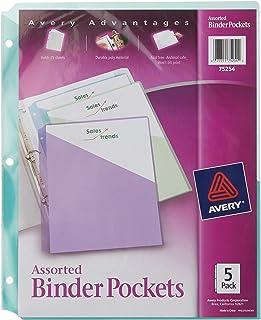"Avery Binder Pockets, Assorted Colors, 8.5"" x 11"", Acid-Free, Durable, 60 Total Slash Jackets, 12 Packs (75254)"