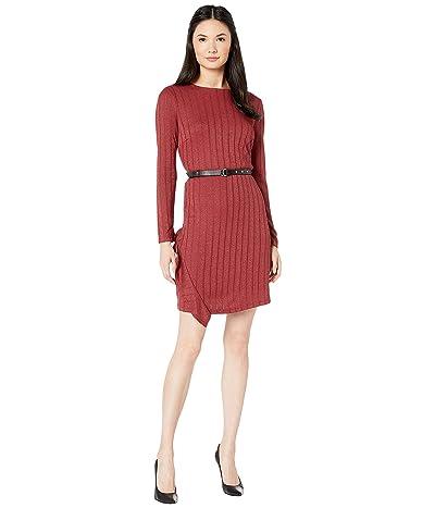 Sam Edelman Asymmetrical Ruffle Knit Dress (Amber) Women