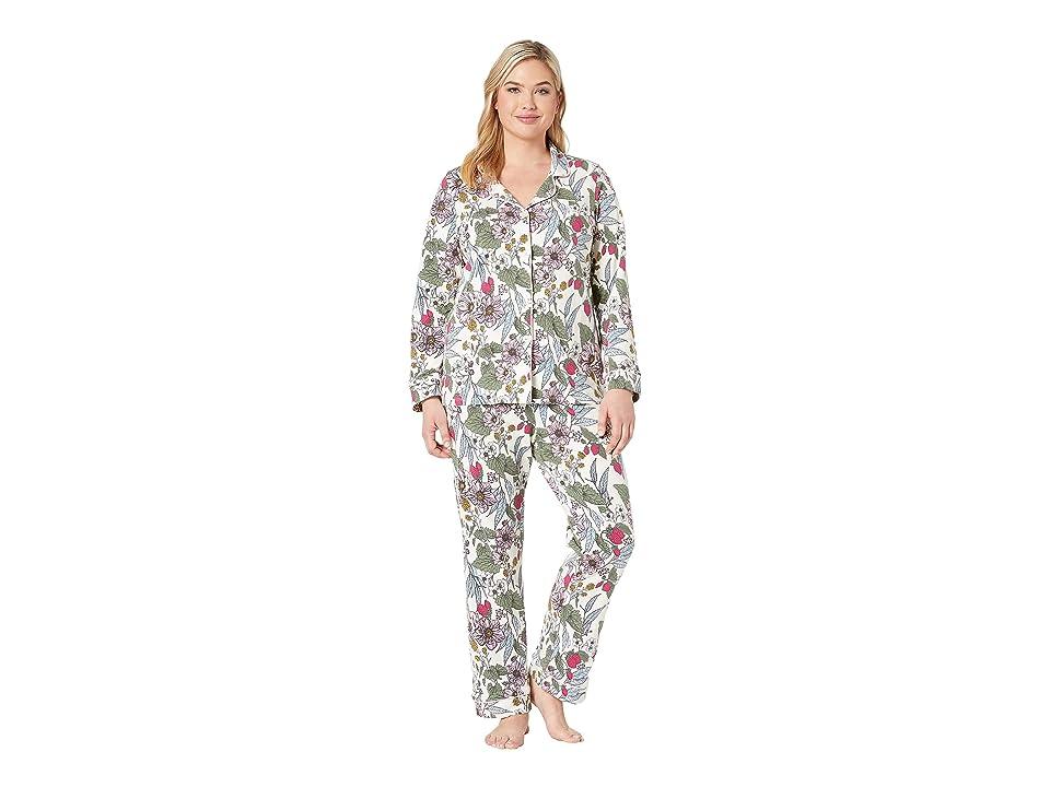 BedHead Pajamas Plus Size Long Sleeve Classic Notch Collar Pajama Set (Strawberry Garden) Women