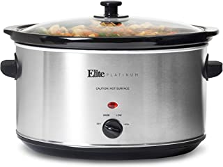 Elite Gourmet Stainless Steel Slow Cooker, Dishwasher-Safe with Tempered Glass Lid, Cool-Touch Handles, Removable Stonewar...