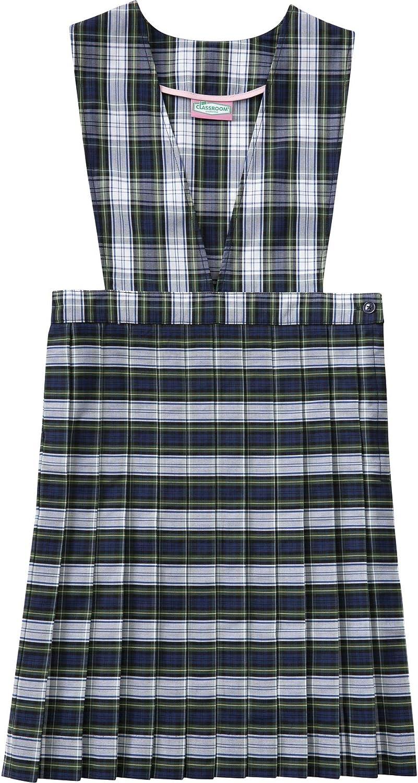 Classroom School Uniform V-Front Girls Regular Dress 5PC4622A, 10, Navy