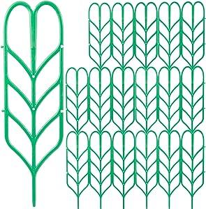 Aulock 18 Pcs Small Climbing Plant Trellis- Plant Climbing Trellis for Indoor Outdoor Small Leaf Shape Potted Plants, Vegetables