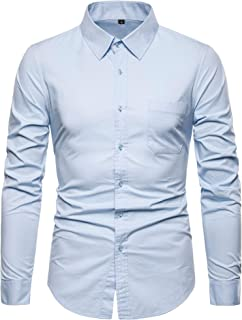 VANCOOG Men's Long Sleeve Casual Button Down Dress Shirts with Chest Pocket