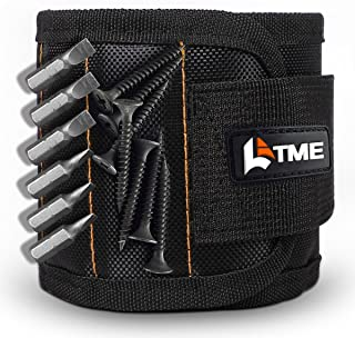LATME Magnetic Wristband with 15 Strong Magnets for Holding Screws Nails Drill Bits-Best Armband Tool for DIY Handyman Unique Gift for Men