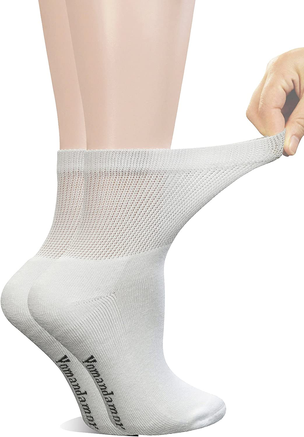 Yomandamor Women's 6 Pairs Bamboo Diabetic Ankle Socks with Non-Binding Top And Cushion Sole,L Size(Socks Size:9-11): Clothing