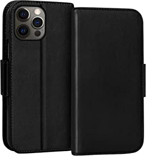 "FYY Case for iPhone 12 / iPhone 12 Pro 5G 6.1"", Luxury [Cowhide Genuine Leather][RFID Blocking] Wallet Case, Flip Folio Ca..."