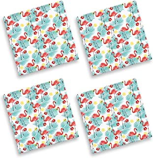 Cackleberry Home Tropical Flamingo Cotton Fabric Napkins 17 Inches Square, Set of 4