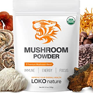 Tiger 7 Mushroom Extract Powder – Organic Superfood Mushroom Powder, Antioxidants, Immune System Booster, Brain Health, Po...