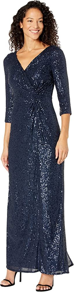 Long Sequin Column Dress with Knot Front Detail
