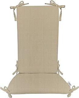 Indoor/Outdoor Sunbrella Linen Antique Beige Rocking Chair 2 Pc Foam Cushion Set ~ Fits Cracker Barrel Rocker