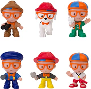 "Blippi Mini Heroes Squishables Mystery 6 Pack - 2"" Character Toy Figure: Police Officer, Lifeguard, Vet, Firefighter, Park Ranger, Plus Firehouse Dog - Educational Toys for Children and Toddlers"