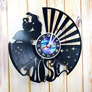 Wall Clock Compatible with Phish Rock Band Made of Vinyl Record Handmade Unique Design Birthday, Wedding, Anniversary, Women, Men, Friends, Girlfriend Boyfriend and Teens, Music, Singer