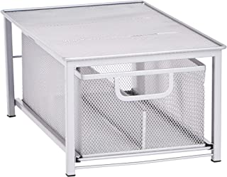 AmazonBasics Mesh Sliding Basket Drawer Storage Shelf Organizer, Silver