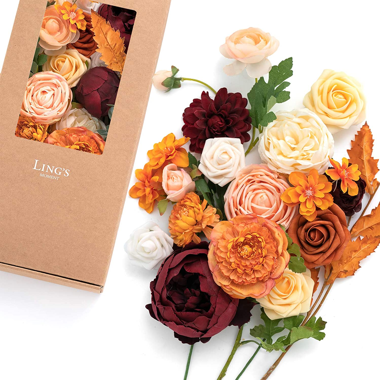 Ling's Al sold out. moment Exuberant Burnt Orange Artificial Very popular Combo fo Flowers