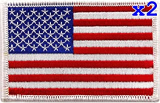 """Pack of 2 USA US American Flag Logo Embroidered Patch Sew on Iron On Applique 3.4"""" x 2.1"""""""