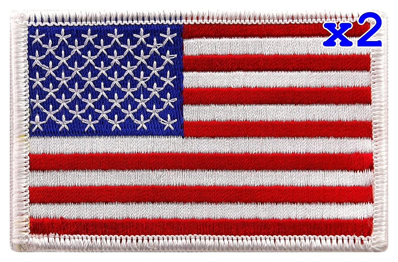 Pack of 2 USA US American Flag Logo Embroidered Patch Sew on Iron On Applique 3.4